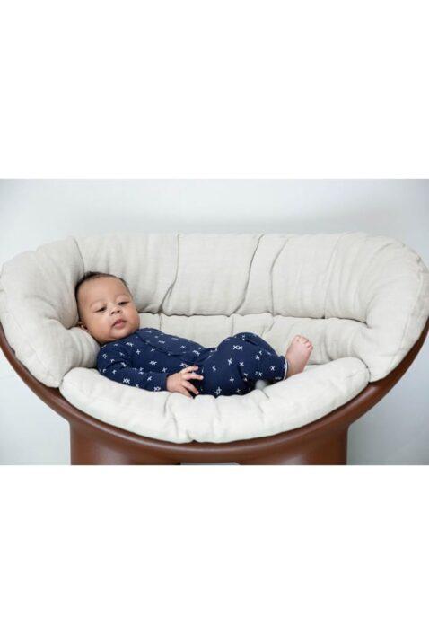 Dirkje Schlafoverall Pyjama dunkelblau gemustert mit Druckknöpfen - Baby Schlafanzug für Jungen - Babyphoto