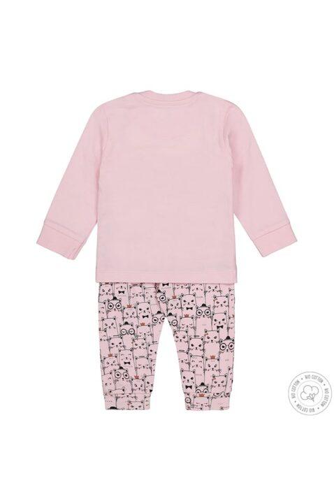 Baby Nachtwäsche Schlafanzug langarm mit Katzen in rosa - Mädchen Pyjama mit Tiermotiv von Dirkje - Rückansicht