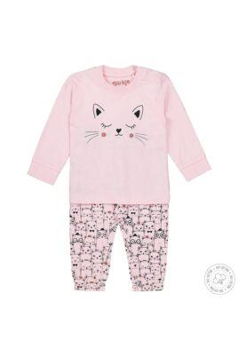 Dirkje Baby Schlafanzug Kinder Pyjama mit Katzen aus weicher Bio-Baumwolle – rosa – für Mädchen – Vorderansicht