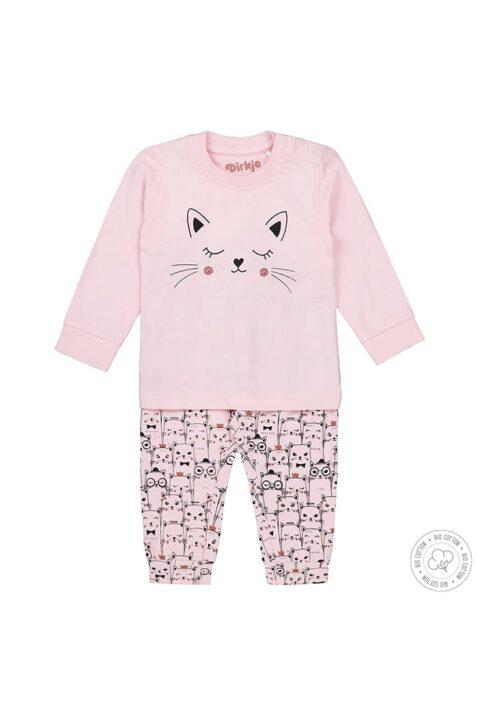 Baby Kinder Schlafanzug Pyjama langarm mit Katzen-Motiv für Mädchen - Baumwoll-Pyjama rosa von Dirkje - Vorderansicht