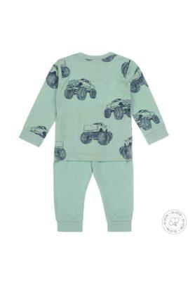 Kinder Pyjama Schlafanzug langarm mit Monstertrucks-Print in mintgrün - Nachtwäsche für Jungen von Dirkje - Rückansicht