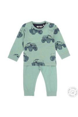 Dirkje Baby Schlafanzug Kinder Pyjama aus weicher Bio-Baumwolle mit Monstertrucks-Print für Jungen – grün – Vorderansicht