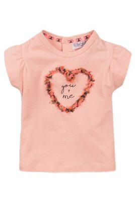 Dirkje Baby T-Shirt Sommershirt für Mädchen mit Fransen-Element und Print – Kurzarmshirt mit Puffärmeln – rosa – Vorderansicht