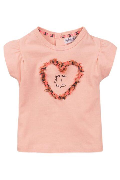 Babyshirt Oberteil kurzarm mit Rundhalsausschnitt und Puffärmel für Mädchen - Sommershirt in rosa mit Print von Dirkje - Vorderansicht