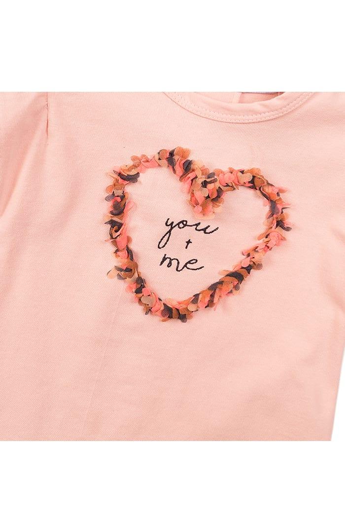Kinder T-Shirt Baby Oberteil kurarm mit Rundhalsausschnitt mit Fransen-Herz und Print - Sommershirt in rosa für Mädchen von Dirkje - Detailansicht