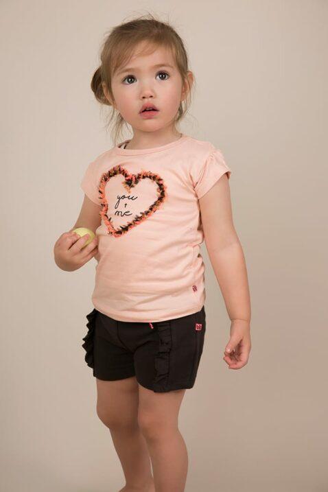 Kinder Oberteil T-Shirt kurzarm mit Herz und Print - Baumwollshirt in rosa für Mädchen - Rundhalsshirt von Dirkje - Babyphoto