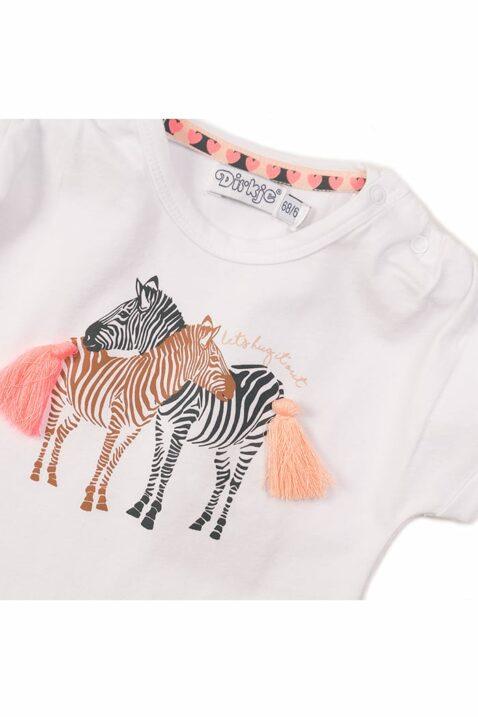 Baby T-Shirt Oberteil für Mädchen kurzarm mit Rundhalsausschnitt und Zebra-Print in weiss - Kurzarmshirt Kinder von Dirkje - Detailansicht