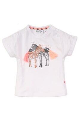 Dirkje Baby T-Shirt Oberteil kurzarm mit Zebras und Fransen in weiss für Mädchen – Sommershirt aus Baumwolle – Vorderansicht