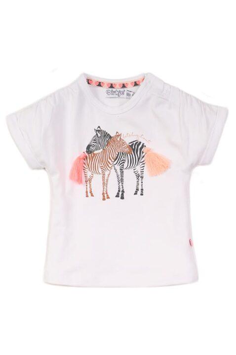 Baby Oberteil Kinder Sommershirt mit Zebras und Fransen aus Baumwolle - Mädchen T-Shirt mit Rundhalsausschnitt in weiss von Dirkje - Vorderansicht