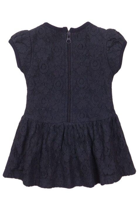 Babykleid Kinderkleid mit Spitze + Faltenrock in dunkelblau - Sommerkleid mit Reißverschluss von Dirkje – Rückansicht