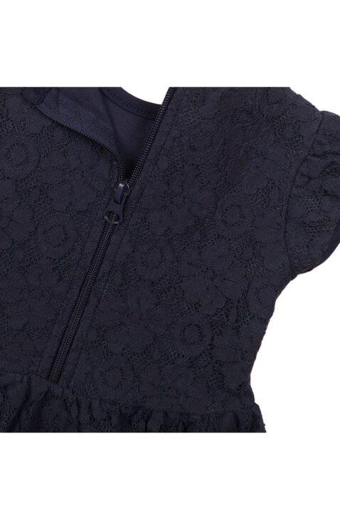 Babykleid Sommerkleid kurzarm mit Spitze + Faltenrock aus Baumwolle - Kinderkleid mit Reißverschluss in navy von Dirkje – Detailansicht