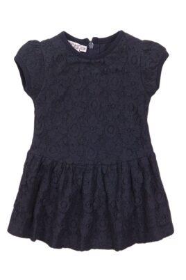 Dirkje Babykleid Sommerkleid mit Spitze + Faltenrock aus Baumwolle – Sommerkleid kurzarm für Mädchen – dunkelblau – Vorderansicht