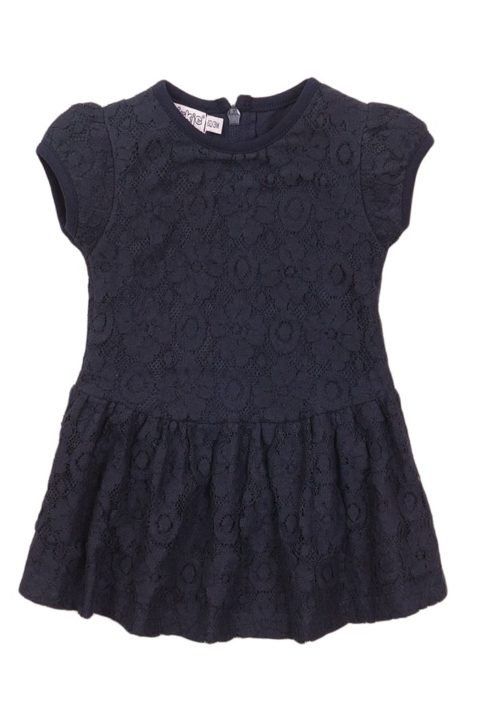 Babykleid Kurzarmkleid mit Spitze + Faltenrock in navy mit Reißverschluss auf dem Rücken - Sommerkleid mit Rundhalsausschnitt von Dirkje - navy - Vorderansicht