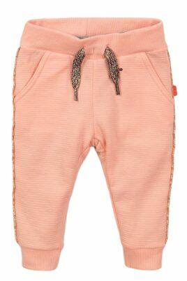 Dirkje Babyhose Sweathose mit Glitzer-Paspel + Zierkordel mit Feinstruktur – Jogginghose für Mädchen in rosa – Vorderansicht