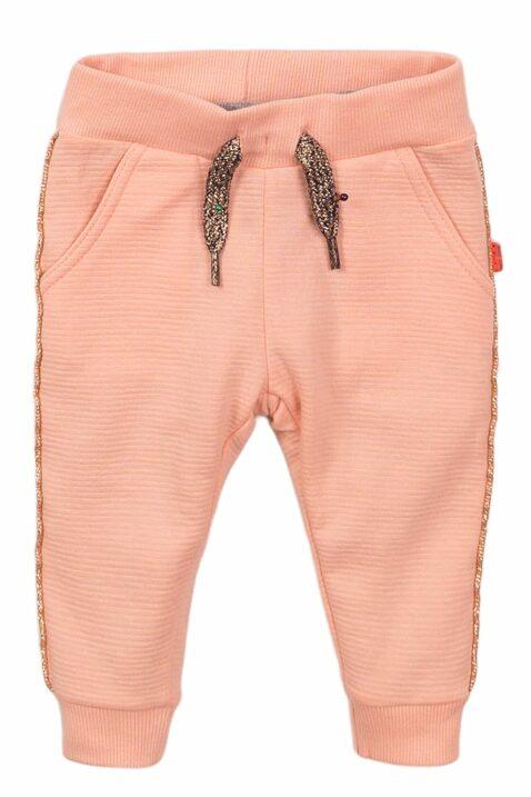 Babyhose Jogginghose für Mädchen in rosa mit Glitzer-Paspel + Feinstruktur - Baby Sweathose aus weicher Baumwolle von Dirkje - rosa - Vorderansicht