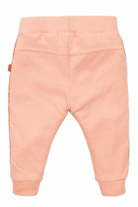 Babyhose Jogginghose für Kinder mit Feinstruktur + Glitzer-Paspel - Baby Sweathose aus Baumwolle in rosa von Dirkje - Rückansicht