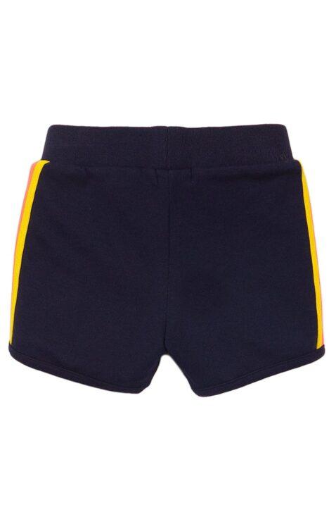 Baby Shorts Sommerhose aus weicher Baumwolle mit Streifen + Zierkordel aus weicher Baumwolle - Kinder Sommershorts für Mädchen von Dirkje – Rückansicht