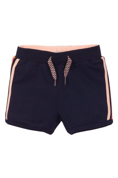 Sommer Baby-Shorts Sommerhose aus weicher Baumwolle in dunkelblau mit bunten Streifen + Zierkordel - Mädchenshorts von Dirkje - Vorderansicht