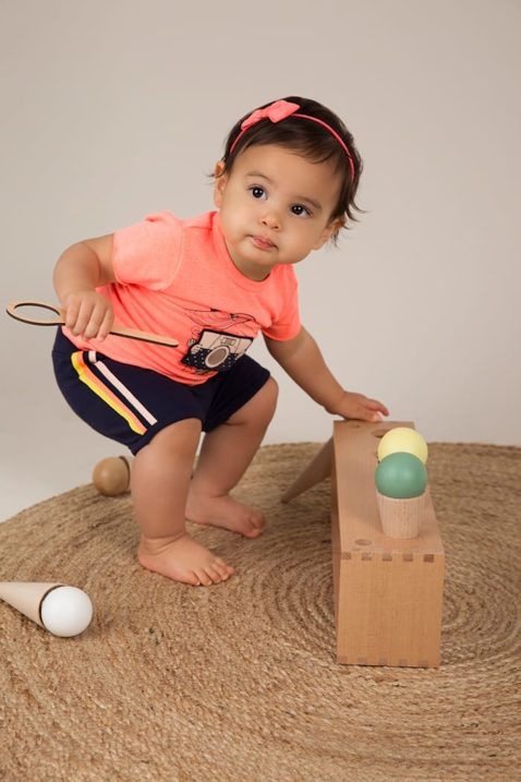 Dirkje Kinder Shorts Babyhose für Mädchen in dunkelblau mit Streifen - Babyshirt Sommershirt rundhals mit Fotoapparat - Babyphoto