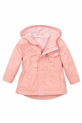 Baby Sommerjacke Kinder Parka für Mädchen mit Kapuze + Seitentaschen – rosa mit gestreiftem Innenfutter + Herz-Print – Baby Kapuzenjacke mit Reißverschluss von Dirkje – Vorderansicht