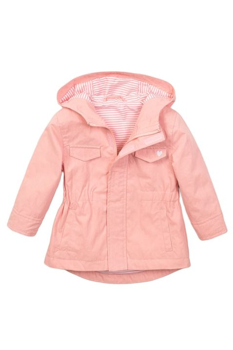 Dirkje Baby Kapuzenjacke mit Seitentaschen + Herz-Aufdruck in rosa - verstellbare Taille - Mädchenjacke mit Fütterung - lange Sommerjacke Kinder – Vorderansicht