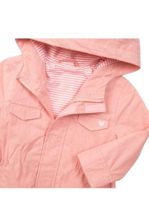 Kinderjacke Baby Kapuzenjacke mit Taschen + Reißverschluss - Parka für Mädchen mit Herz-Print - rosa - Detailansicht