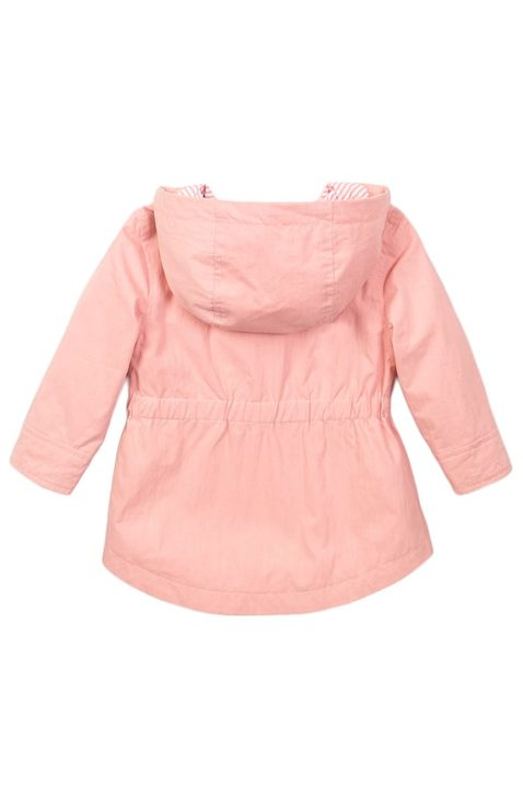 Babyjacke Kinder Sommerjacke aus Baumwolle mit Kapuze + Seitentaschen - Kapuzenjacke für Mädchen mit Herz Aufdruck von Dirkje - rosa - Rückansicht