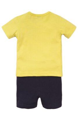 Babyset Jungenset mit Kurzarmshirt mit Tiermotiv + Druckknöpfen - Kurze Hose mit Kordel blau - Baby 2er Set aus Baumwolle - mehrfarbig - Rückansicht