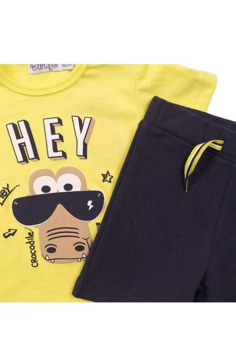 Babyset zweiteilig für Jungen mit Oberteil kurzarm mit Rundhalsausschnitt + Krokodil-Print - Baby Shorts unifarben blau - Kleinkind 2er Set von Dirkje - Detailansicht