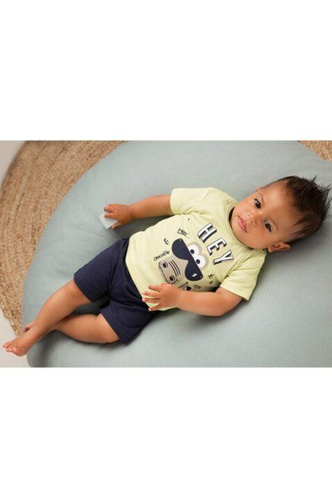 Dirkje Kinder Babyset für Jungen mit Oberteil kurzarm mit Tiermotiv - Shorts dunkelblau für den Sommer - mehrfarbig - Babyphoto