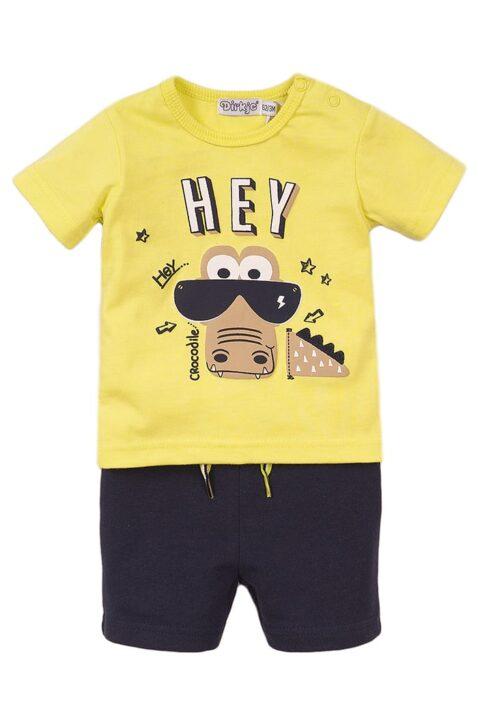 Babyset Kinderset zweiteilig mit Kurzarmshirt mit Rundhalsausschnitt in gelb mit Krokodil-Print - Baby Shorts navy mit Zierkordel - 2er Set für Jungen von Dirkje - mehrfarbig - Vorderansicht