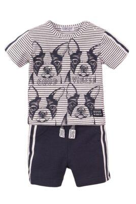 Dirkje Kinder Baby 2er Set mit gestreiftem T-Shirt mit Hunde-Print + Shorts navy mit Streifen aus weicher Baumwolle – Vorderansicht