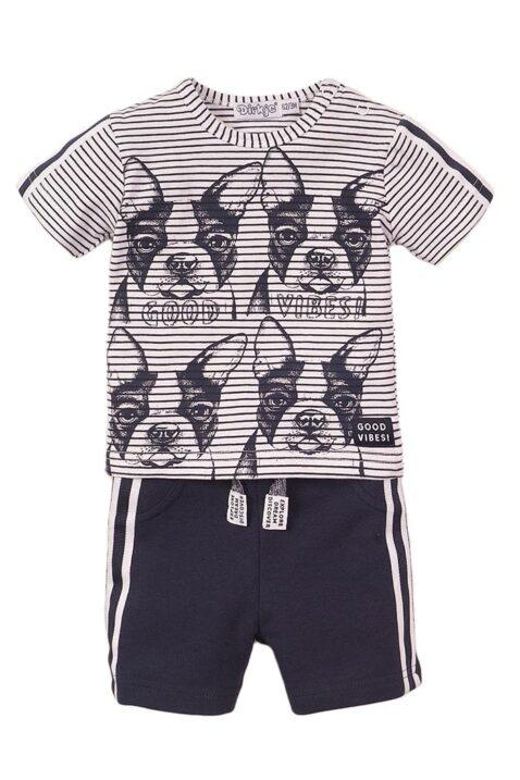 Babyset von Dirkje zweiteilig für Jungen - T-Shirt gestreift mit Hunde-Print + Good Vibes Schriftzug - Kurze Hose in dunkelblau mit seitlichen Streifen - Sommer Set - Vorderansicht