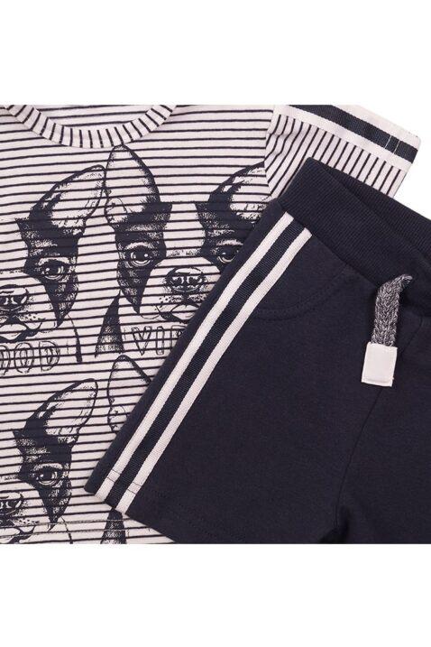Babyset zweiteilig für Jungen mit gestreiftem Shirt rundhals mit Hunde Print + blaue Shorts aus weicher Baumwolle - Baby 2er Set kurz von Dirkje - Detailansicht