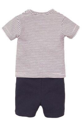 Baby 2er Set für Jungen mit Rundhalsshirt gestreift mit Hunde-Print + Jungen Shorts dunkelblau mit Streifen - Babyset aus Baumwolle von Dirkje - Rückansicht