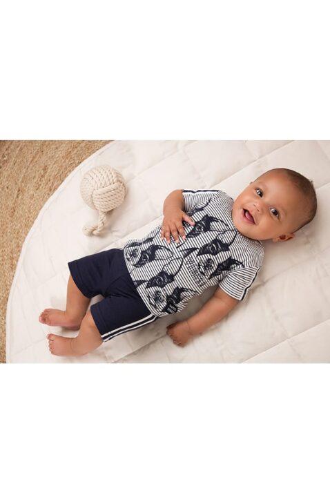 Babyset 2er Set für Jungen mit T-Shirt gestreift mit Hunde-Print + Shorts navy mit Streifen + Kordel - 2er Set für Jungen aus Baumwolle von Dirkje - Babyphoto