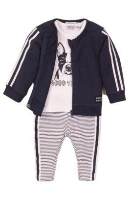 Dirkje Babyset Sweatanzug 3er-Set mit Babyjacke blau im College-Style mit Streifen – T-Shirt mit Hund weiss – gestreifte Sweathose – Vorderansicht