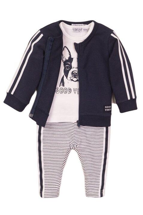 Babyset Jogginghose 3er-Set mit Sweatjacke navy mit Streifen - Rundhalsshirt kurzarm weiss mit Hunde-Print - gestreifte Leggings blau-weiss - Sweatanzug mit T-Shirt Set für Jungen von Dirkje - Vorderansicht