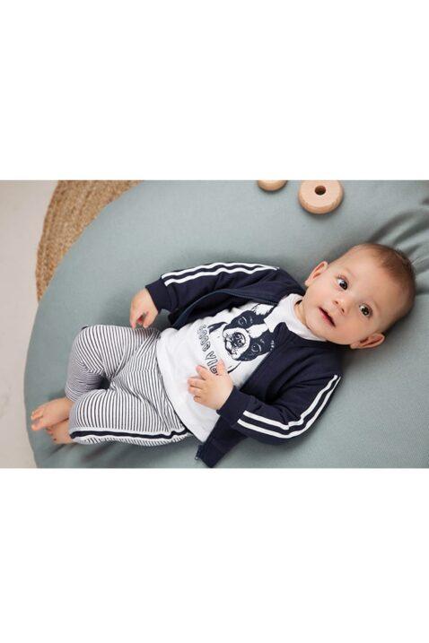 Baby Sweatanzug 3er-Set mit College Jacke blau mit Reißverschluss + Streifen - Rundhalsshirt kurzarm weiss mit Tiermotiv - gestreifte Sweathose aus Baumwolle - Dirkje Babyset für Jungen - Babyphoto