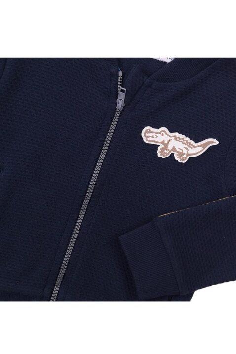 Baby Kinderjacke College-Jacke in navy mit Streifen + Tiermotiv - Streifen an den Ärmeln - Babyjacke mit Reißverschluss von Dirkje - Detailansicht