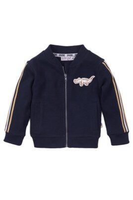 Dirkje Babyjacke Sweatjacke dunkelblau mit Streifen + Krokodil – aus weicher Baumwolle mit Feinstruktur – Vorderansicht
