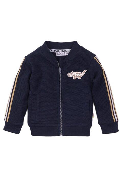Babyjacke Kinder Sweatjacke im College-Style mit Streifen, Reißverschluss + Krokodil - College-Jacke navy mit Taschen für Jungen von Dirkje - Vorderansicht