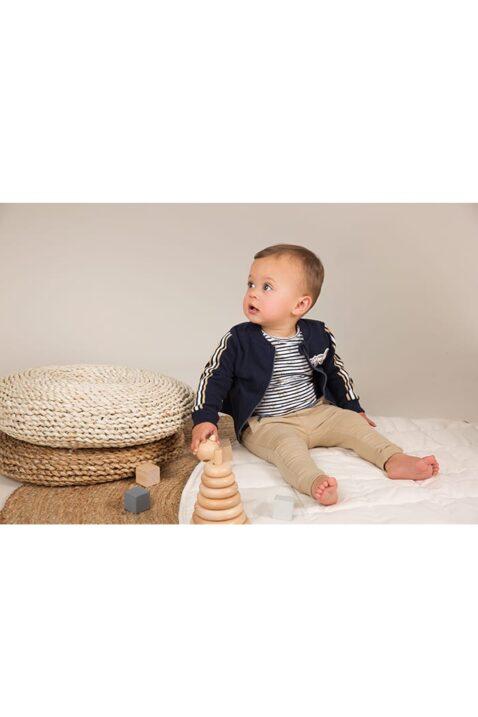 Baby Sweathose im Chino-Look in beige - Babyjacke College navy - Rundhalsshirt gestreift kurzarm - Babyphoto