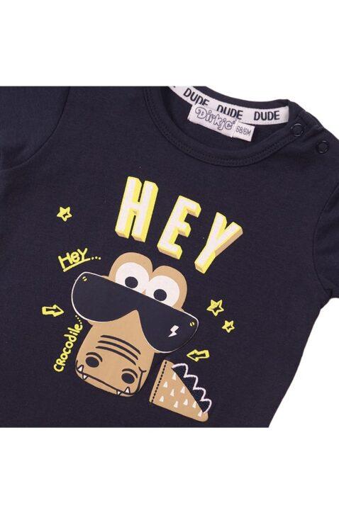 Baby T-Shirt Kurzarmshirt aus Baumwolle mit Krokodil-Aufdruck - Kinder Oberteil T-Shirt für Jungen in blau - Detailansicht