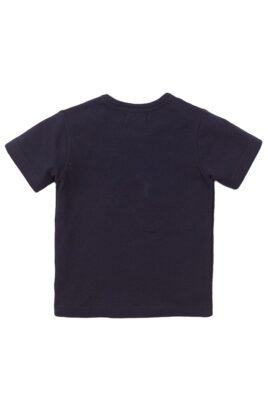 Baby Rundhalsshirt Sommershirt mit Tiermotiv + Druckknöpfen an der Schulter - Kinder Kurzarmshirt für Jungen von Dirkje - navy - Rückansicht