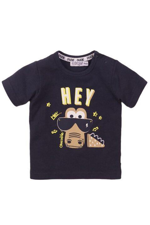 Baby Oberteil Kurzarmshirt in dunkelblau mit Tiermotiv + Druckknöpfen an der Schulter - Baby T-Shirt aus weicher Baumwolle von Dirkje - Vorderansicht