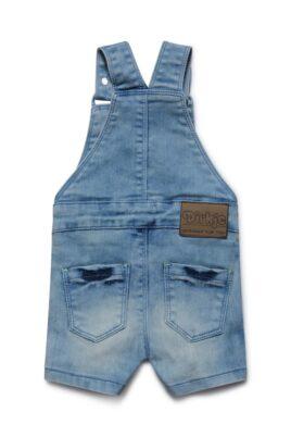 Baby Jeans-Latzhose kurz mit grüner Kordel + Alpha-Patch - Jeans-Latzshorts mit Taschen von Dirkje - Rückansicht