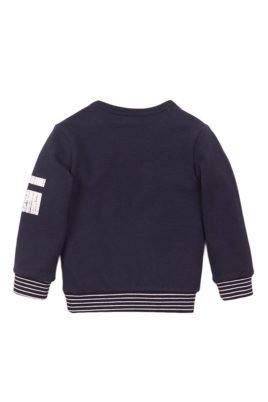 Baby Sweater Sweatshirt aus weicher Baumwolle in dunkelblau mit Streifen-Bündchen + Print - Baby Pullover für Jungen von Dirkje - Rückansicht