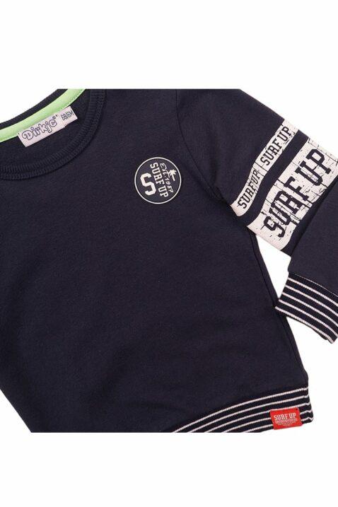 Baby Sweater Rundhalspullover mit Streifen-Bündchen + Print - Sweatshirt aus Baumwolle für Jungen von Dirkje - blau - Detailansicht