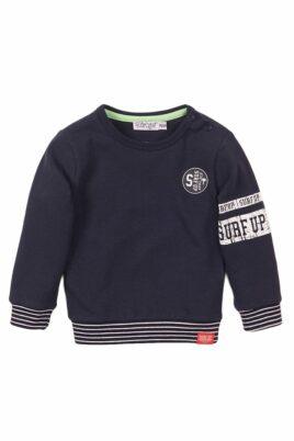 Dirkje Baby Sweatshirt Pullover blau mit gestreiften Bündchen + Surf up-Print – Baby Rundhalspullover mit Patch für Jungen – Vorderansicht